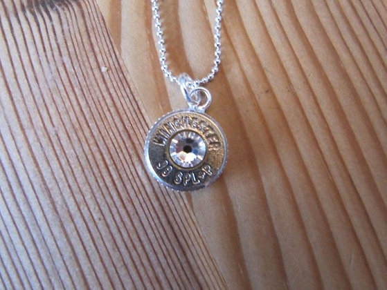 38 Special Bullet Necklace with Crystal Accents