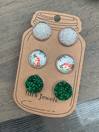 Green and White Floral Faux Druzy Earring 3 Set