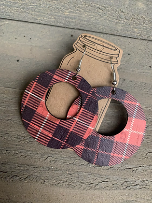 Red and Black Buffalo Plaid Cork Leather Earring