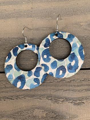 Blue Watercolor Leopard Cork Hoop Earring