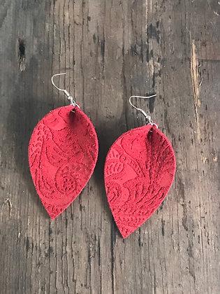 Red Paisley Suede Earrings
