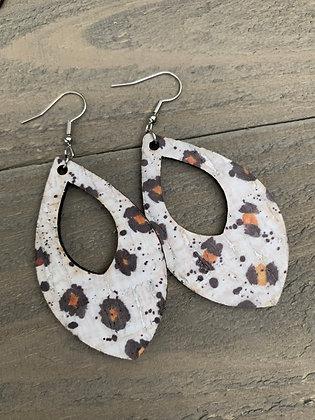 White Leopard Cork Teardrop Earring