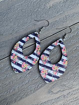 Black and White Stripe Floral Cork Teardrop Earring