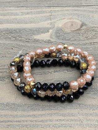 Black Tan and Gold Crystal Triple Stacked Stretch Bracelet Set