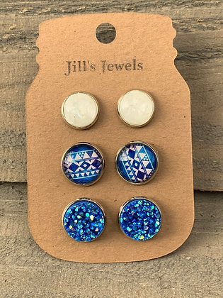 Blue and White Aztec Faux Druzy Earring 3 Set