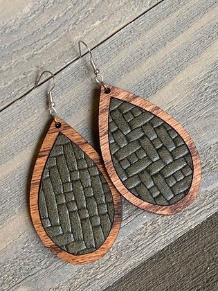 Olive Basket Weave Leather and Wood Teardrop Earrings