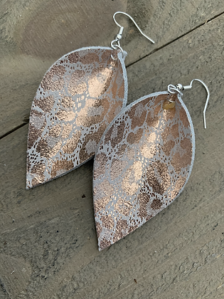 Rose Gold Leopard Print Leather Earrings