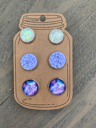 Purple and White Marble Faux Druzy Earring 3 Set