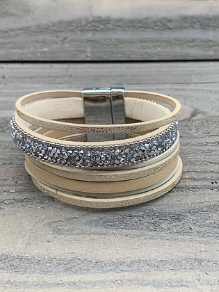 Tan and Silver Rhinestone Magnetic Bracelet