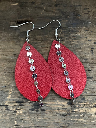Redl Leather Earrings with Silver Coin Chain