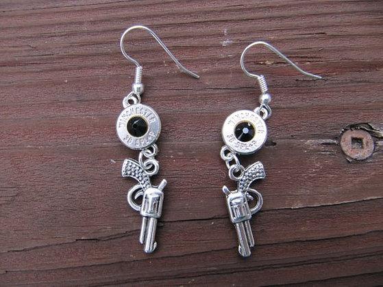 Bullet Earrings-38 Special Pistol Charm Black