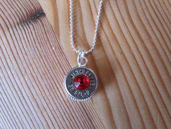 Red Bullet Necklace-July Birthstone
