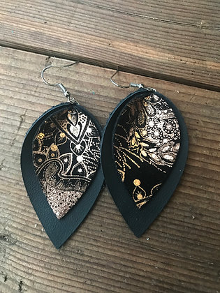 Black and Rose Gold Paisley Earrings