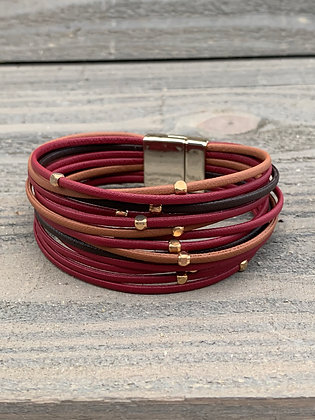 Red Brown and Gold Magnetic Bracelet