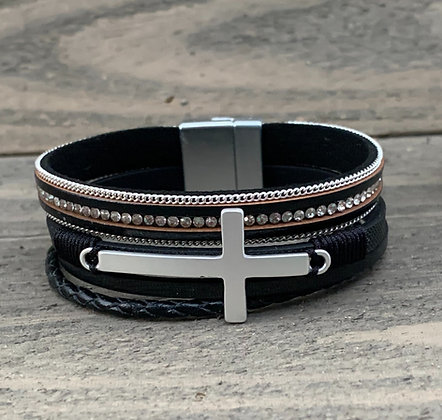 Black and Silver Cross Magnetic Bracelet