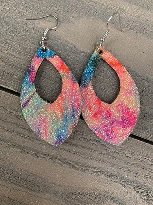 Glitter Tie Dye Cork Teardrop Earring
