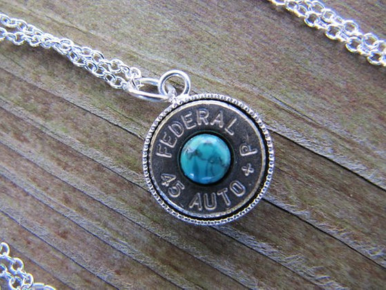 45 Auto Bullet Necklace with Turquoise Accents