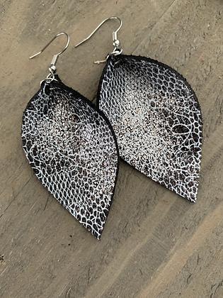 Metallic Lace Printed Leather Earrings