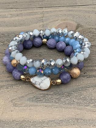 Purple Gemstone Triple Stacked Stretch Bracelet Set