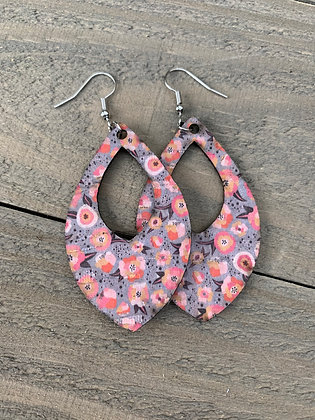 Blue and Coral Floral Cork Teardrop Earring
