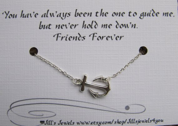 Best Friend Anchor Charm Necklace