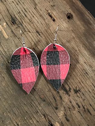 Black and Red Buffalo Plaid Earrings