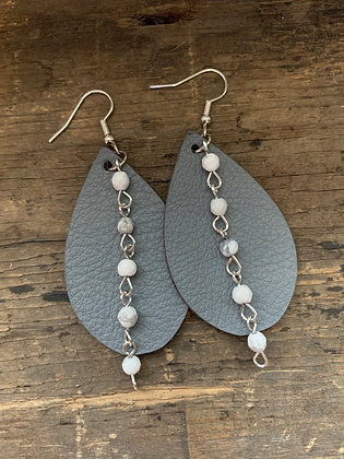 Grey Leather Earrings with White Gemstone Chain