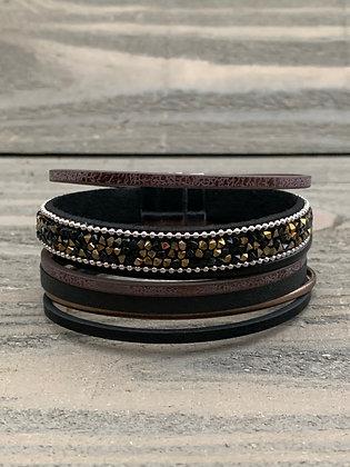 Brown and Black Rhinestone Magnetic Bracelet