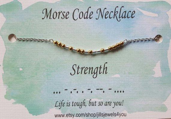 Morse Code Necklace- Strength