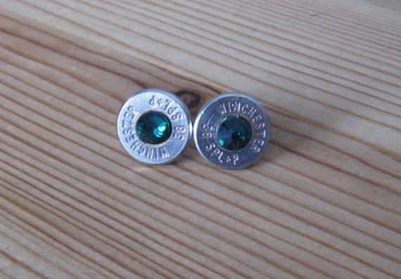 Bullet Earrings- 38 Caliber Emerald Crystals