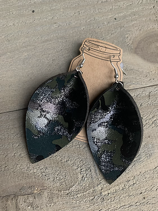 Black Camo Silver Accented Leather Earrings