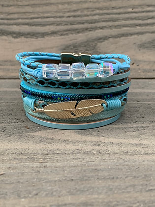 Teal Blue Beaded Feather Magnetic Bracelet
