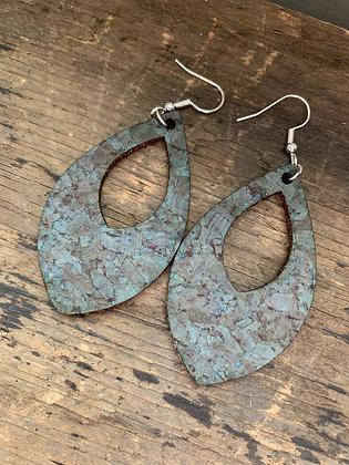 Turquoise Cork Teardrop Earring