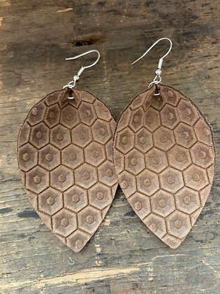Cocoa Brown Honeycomb Leather Earrings