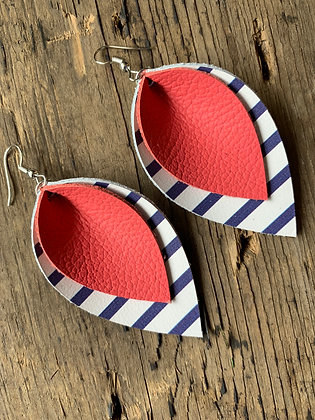 Coral Leather earrings with blue and white stripes