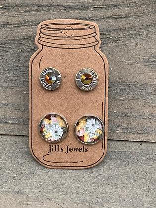 Mustard Daisy 9mm bullet earring set
