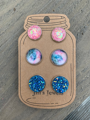 Blue and Pink Marble Faux Druzy Earring 3 Set