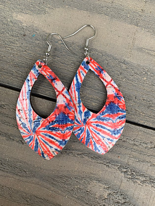 Red, white and blue Tie Dye Cork Teardrop Earring