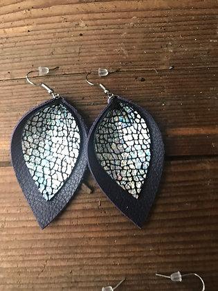Holographic Silver Snake Earrings