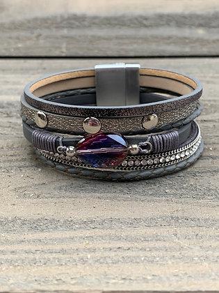 Grey Iridescent Crystal Magnetic Bracelet