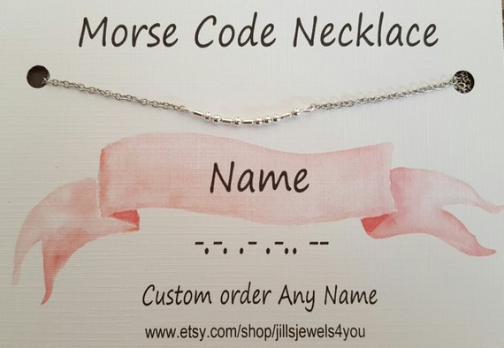 """Morse Code Necklace- """"Any Name"""""""