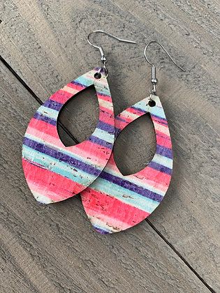 Sunset Stripe Cork Teardrop Earring