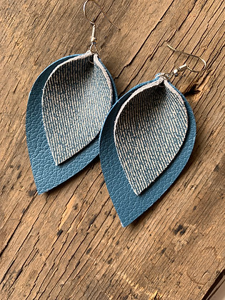 Denim Leather Double Layer Earring