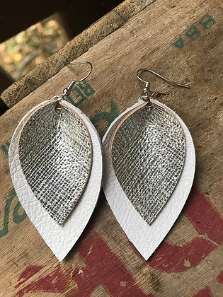 White and Silver Boho Earrings