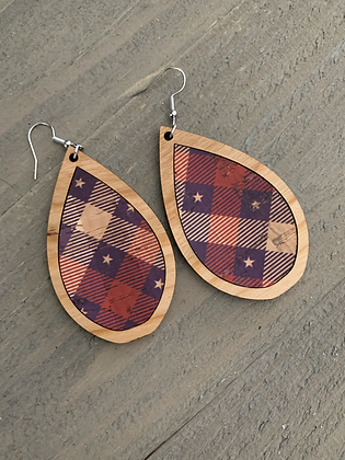 Red White and Blue Star Plaid Cork and Wood Teardrop Earrings