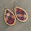Thumbnail: Red White and Blue Star Plaid Cork and Wood Teardrop Earrings