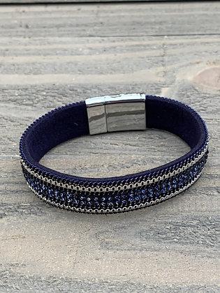 Navy Rhinestone Magnetic Bracelet