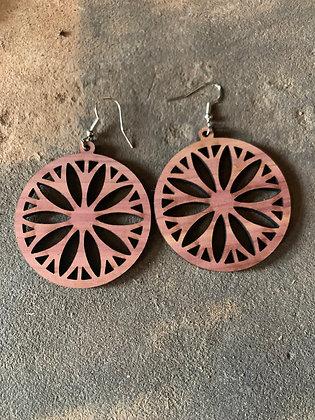 Round Starburst Cedar Earrings