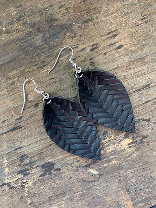 Black Braided Leather Earrings