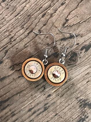 Wood Base 38 special dangle bullet earrings